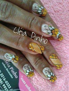 Unhas com flores 2014 - 14 Gelish Nails, Gel Manicure, Toe Nails, Pedicure, Thanksgiving Nail Art, Flower Nail Art, Pretty Nail Art, Nail Tutorials, French Nails