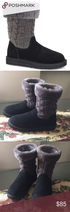 ✨NEW UGG JUNIPER (BIG KIDS SIZE 6-WOMENS SIZE 8) The classic boot is updated with a cable knit sweater shaft and UGGPure wool cuff for a cozy look. - Round toe - Pull-on - Suede upper - Cable knit shaft - UGGPure wool cuff - UGGPure wool lining - Imported UGG Shoes Ankle Boots & Booties