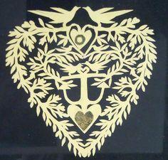 Intricate Scherenschnitte Love Token w Love Birds Hearts An Anchor C1850S | eBay eclectible