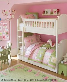 Rooms: Pink Paint Colors Girl's Rooms: Pink Paint Colors - Design Dazzle I like this bed love the pink and green.Girl's Rooms: Pink Paint Colors - Design Dazzle I like this bed love the pink and green. Teenage Girl Bedrooms, Girls Bedroom, Bedroom Decor, Bedroom Ideas, Boy Bedrooms, Bedroom Colors, Nursery Ideas, Nursery Decor, Green Girls Rooms