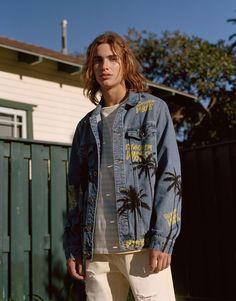 Pull&Bear - man - teen collection - denim jacket with palm tree print - pale indigo - 05713512-V2018