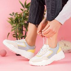 Pantofi Piele dama albastri cu galben Estenia