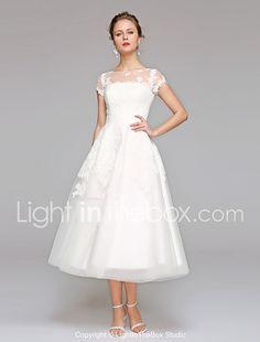 A-line Bateau Tea Length Lace Tulle Wedding Dress by LAN TING BRIDE® 2017 - $129.99