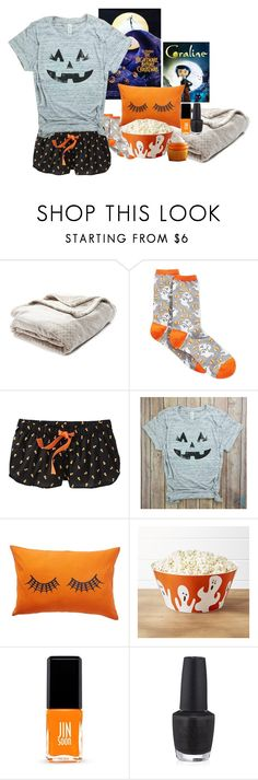 """Halloween Movie Night-Contest Entry"" by preppypuffpuff on Polyvore featuring Nordstrom Rack, HOT SOX, Old Navy, Crate and Barrel, Jin Soon and OPI"