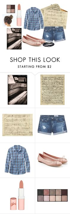 """""""Piano Practice"""" by ashley-nichole-smith on Polyvore featuring Art Classics, Music Notes, AG Adriano Goldschmied, L.L.Bean, Salvatore Ferragamo, Rimmel, By Terry and Phillip Gavriel"""