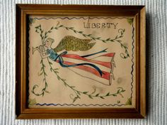 This primitive watercolor of a patriotic angel was recently painted on early paper and is in an antique gold frame. There is a slight tear in the paper at the top, but it only adds to the antique charm. The colors in the painting are blue, red, gold and green. The image under glass measures 6 1/4 inches by 7 1/4 inches. The outside measures 7 1/2 inches by 8 3/4. It is a nice patriotic piece of folk art.