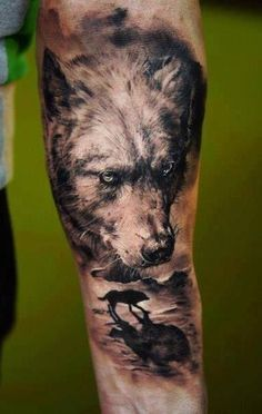 http://tattoomagz.com/wolfs-tattoos-on-arms/realistic-lovely-wolf-tattoo-on-arm/