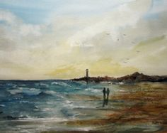 Seascape Painting archival print watercolor landscape by RPeppers