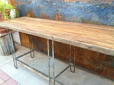 rustysaturday: Iron and wood buffet table