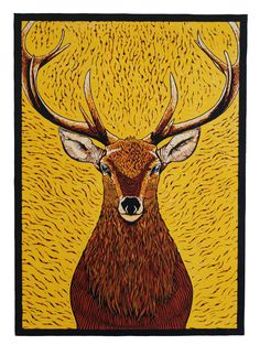 Stag - Matthew Carey Simos | Printmaking | Illustration Lino Design, Lino Art, Linoprint, Oh Deer, Linocut Prints, Woodblock Print, Print Pictures, Art Lessons, Screen Printing