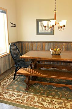 Barn wood wainscoting in the dining room.