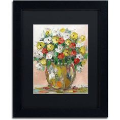 Trademark Fine Art Spring Flowers in a Vase 8 inch Canvas Art by Hai Odelia, Black Matte, Black Frame, Size: 16 x 20, Multicolor
