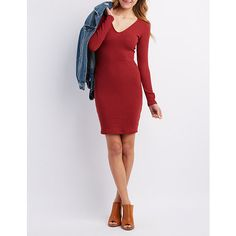 Ribbed V-Neck Bodycon Dress. Find this Pin and more on Charlotte Russe  Dresses and accesories I like ... 0d9bf0c24