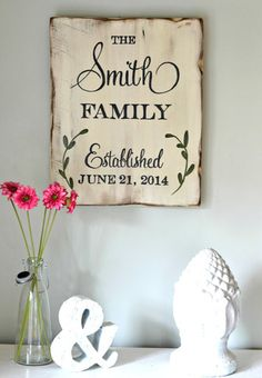 Family Established Sign with Leaves (customizable) - Aimee Weaver Designs. I want this for Christmas to go in my dining room!