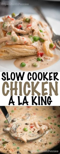 Slow Cooker Chicken a la King – Spend With Pennies Slow Cooker Chicken a la King served in a puff pastry square is a super easy, creamy, comforting dish that your family and friends will love. Slow Cooker Huhn, Crock Pot Slow Cooker, Crock Pot Cooking, Slow Cooker Chicken, Slow Cooker Recipes, Cooking Recipes, Crock Pots, Healthy Recipes, Easy Recipes