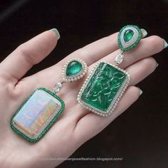 a pair of mismatched earrings with cts carved Zambian emerald and cts opal. Gemstone Brooch, Tanzanite Necklace, Emerald Earrings, Jewellery Earrings, Jewellery Box, High Jewelry, Jewelry Art, Jewelry Design, Designer Jewellery