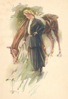 Harrison Fisher Pretty Lady Rider Watering Horse 1906 Antique Art Print | eBay