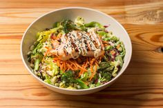 Burgers, Bowls, Salads, Smoothies, Shakes and Kids Meals inspired by the seasons with only clean ingredients. A menu everyone will love. Sockeye Salmon, Salmon Salad, Japchae, Kids Meals, Smoothies, Salads, Menu, Ethnic Recipes, Food