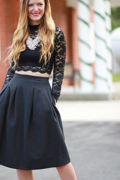 9a526c117 orlando, florida fashion blogger styles holiday outfit with lace crop top,  h&M midi skirt