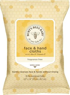 Burt's Bees Baby Face & Hand Cloths, Unscented Cleansing Wipes - 30 Wipes (Pack of Baby Wipes Travel Case, Baby Wipe Case, Wipes Case, Baby Wipe Holder, Baby Wipes Container, Baby Wipe Warmer, Baby List, Burts Bees, A 17