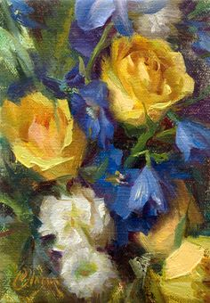 """""""Blues and Yellows"""" by Adam Clague • Oil on linen • 7""""x5"""" •Available. To inquire, email contact@AdamClague.com"""