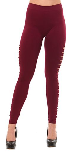 Just One Women's Ripped Side Slashed Leggings (Burgundy, S)