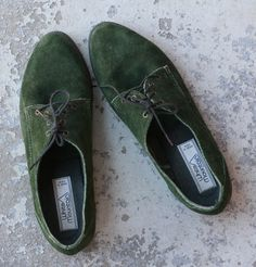 Forest Green Suede Leather Lace Up Oxford Flats Shoes Vintage ($65.00) - Svpply