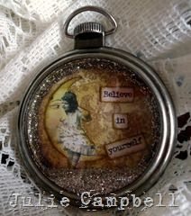 "Vintage-style pendant I made using a Tim Holtz ""pocket watch"", Crafty Secrets images & real silver shavings glitter..."
