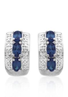 Belk  Co.  Sterling Silver Sapphire and Diamond Hoop Earrings