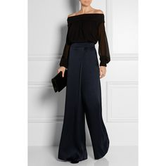 Temperley London Isola wrap-effect silk-satin wide-leg pants (€595) ❤ liked on Polyvore featuring pants, wide leg evening pants, high waisted wide leg trousers, high waisted wide leg pants, wrap around pants and wrap pants