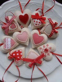 Szívek,vegyesen,Karácsonyi dekoráció, Dekoráció, Otthon, lakberendezés, Karácsonyi, adventi apróságok, Karácsonyi dekoráció, Meska