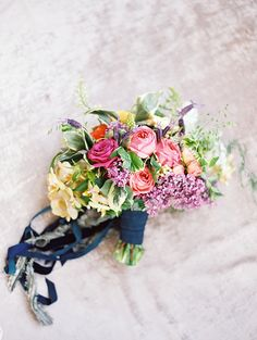 Pink, yellow and purple wedding bouquet ideas. @weddingchicks
