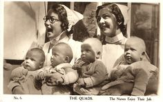 Nurses Williams (left) and Murrant (right) sit with a set of quadruplets, early 20th century. Pictures of Nursing: The Zwerdling Postcard Collection. National Library of Medicine
