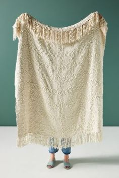 Textured Chenille Throw Blanket by Anthropologie in White, Throws