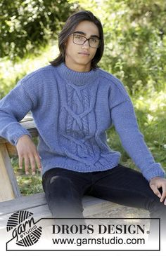Winter Love / DROPS 185-5 - Knitted sweater with cable at the front for men. Size: S - XXXL Piece is knitted in DROPS Air.