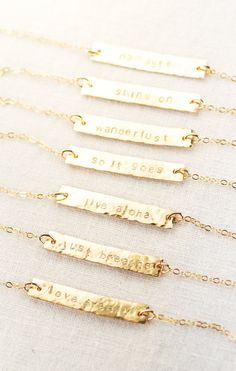 Alohilohi necklace - gold bar necklace, gold name plate necklace, personalized gold necklace, inspiration jewelry, wanderlust necklace, maui