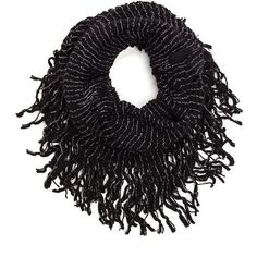 Bundle Of Joy Infinity Scarf BLACK (Final Sale) ($1.95) ❤ liked on Polyvore featuring accessories, scarves, black, circle scarves, fringe scarves, infinity scarf, round scarf and tube scarf
