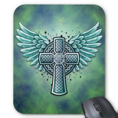 Celtic Cross with Angel Wings | blue green celtic cross design with large angel wings on either side