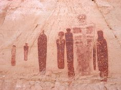 Section of the Great Gallery, Canyonlands National Park, Utah - the Holy Ghost and his attendants