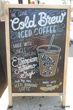 cold brew iced coffee café new york nyccrazygirl Fall Chalkboard Art, Coffee Chalkboard, Chalkboard Doodles, Chalkboard Lettering, Chalkboard Designs, Coffee Menu, Art Starbucks, Starbucks Crafts, Chalk Menu