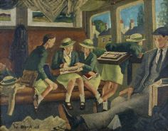 The Train Home from School by Norman Alexander Clark.  Date painted: 1948