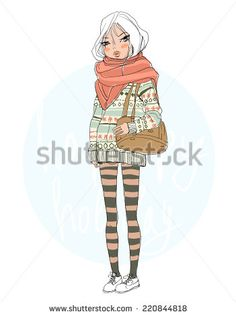 Fashion girl in a sweater. Christmas card. - stock vector