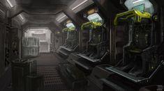 Sci Fi Concept Art Interior Dropship interior by cjuzzz