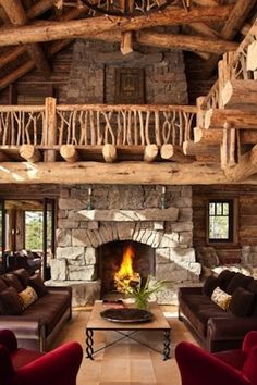 A great rustic living room. We love the natural wood in this room!