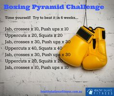 Improve your fitness - boxing pyramid workout challenge by Healthy. Informations About Improve your fitness - boxing pyramid workout challenge by Healthy Boxe Fitness, Fitness Herausforderungen, Fitness Motivation, Fitness Workouts, Boxing For Fitness, Fitness Goals, Urban Fitness, Boxing Workout Plan, Boxing Routine