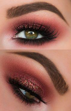 Augen Make Up Rotes Kleid  #augen #augenmakeup #kleid #rotes