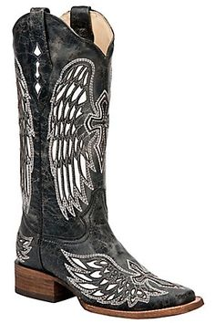Corral Ladies Distressed Black w/ Winged Cross White Inlay Square Toe Western Boot