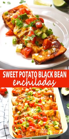 These Vegetarian Sweet Potato Black Bean Enchiladas are a delicious and healthy vegetarian Mexican-inspired meal idea that's packed with veggies and protein – and they're kid-friendly! Tasty Vegetarian Recipes, Veggie Recipes, Mexican Food Recipes, Healthy Dinner Recipes, Cooking Recipes, Sandwich Recipes, Recipes For Vegetarians, Vegetarian Mexican Food, Healthy Vegetarian Dinner Recipes