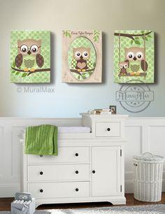 Owl Kids Art, Owl Decor, Art for children Owls, Nursery Art, Set of 3 Nursery Canvas Art , 16x20, Baby Boys Room Art Print. $155.00, via Etsy.