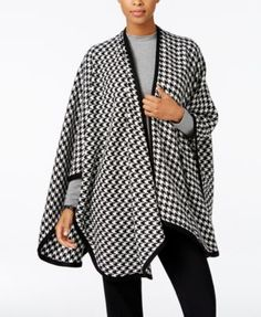 Charter Club Houndstooth Poncho, Only at Macy's | macys.com